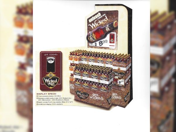"""an example of 20 case display called """"Unleash a whole new wicked""""-  How to merchandise craft beer through floor display"""