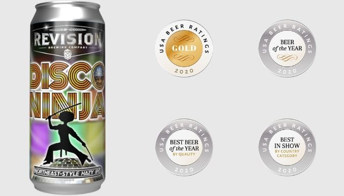 Disco Ninja - NE-Style Hazy India Pale Ale winning the beer of the year award by quality, value and package at 2020 USA Beer Ratings